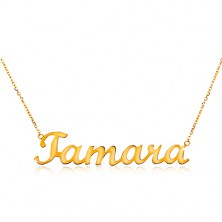 585 gold adjustable necklace with name Tamara, fine lustrous chain