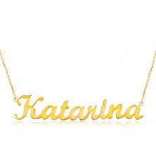 14K gold adjustable necklace with name Katarína, fine glossy chain