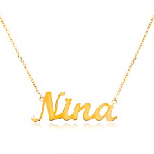 Necklace made of yellow 14K gold - thin chain, shiny pendant - name Nina