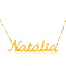 14K gold necklace - thin chain composed of oval links, shiny pendant Natália