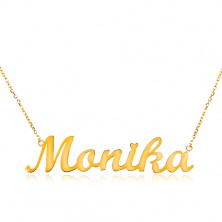 Necklace made of yellow 585 gold - thin chain, shiny pendant Monika