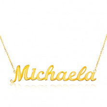 Necklace made of yellow 14K gold - thin chain, shiny pendant - name Michaela