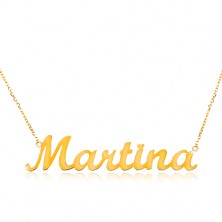 585 gold necklace - thin chain composed of oval links, shiny pendant Martina