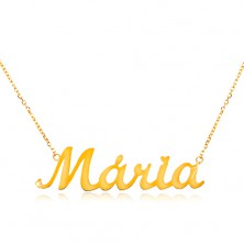 Necklace made of yellow 585 gold - fine chain, shiny pendant Mária
