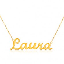 Necklace made of yellow 14K gold - thin glossy chain, shiny inscription Laura