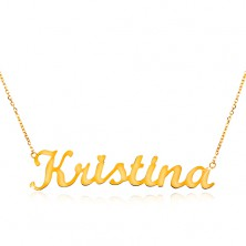Necklace made of yellow 14K gold - thin chain, shiny pendant - name Kristína