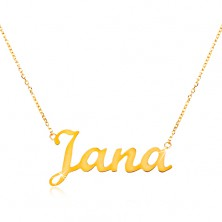 14K gold adjustable necklace with name Jana, fine glossy chain