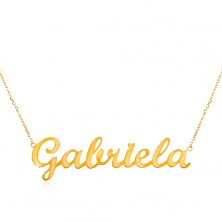 Necklace made of yellow 585 gold - fine chain, shiny pendant Gabriela