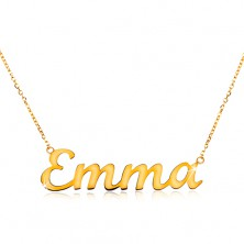 Necklace made of yellow 14K gold - thin lustrous chain, shiny inscription Emma