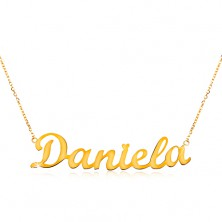 Necklace made of yellow 14K gold - thin chain, shiny pendant - name Daniela