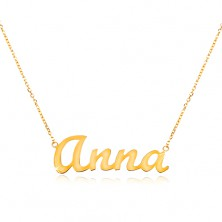 14K gold adjustable necklace with name Anna, fine glossy chain