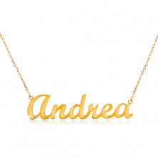 Necklace made of yellow 14K gold - thin glossy chain, shiny inscription Andrea