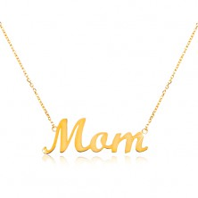 585 gold necklace with inscription Mom, thin adjustable chain