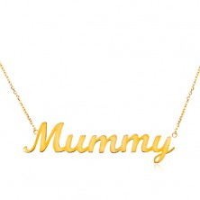 Necklace made of yellow 14K gold - fine chain, shiny pendant - Mummy