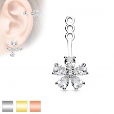 Decoration for stud earring or piercing, clear zircon flower