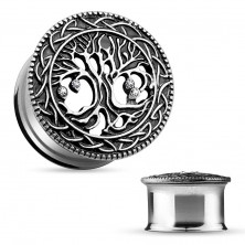 Steel ear tunnel, carved spreading tree, black patina, clear zircons