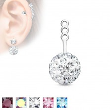 Accessory to stud earring, sparkly ball with embedded zircons