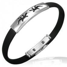 Flat rubber bracelet - lizards, black colour