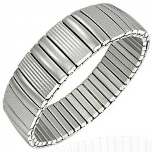 Steel bracelet - smooth and engraved links