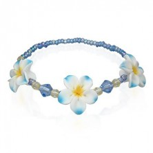 Fimo beaded bracelet with flowers in blue colour