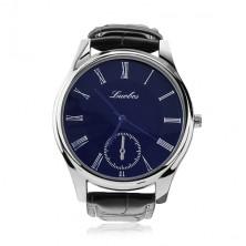 Men's wristwatch, black strap, round blue dial