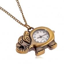 Watch on chain in matt brass hue, elephant