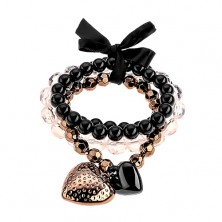 Multibracelet - beads in black, transparent and hematite colours, two hearts, bow