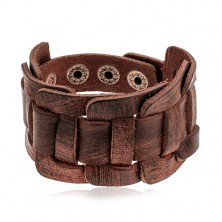 Wide bracelet made of synthetic dark brown leather, braided pattern, cut surface