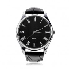 Wristwatch, black synthetic leather strap, round black dial
