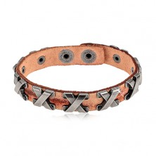 Bracelet made of synthetic leather in cinnamon colour, steel crosses in silver colour