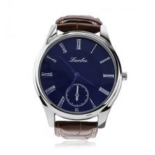 Men's wristwatch, round blue dial, brown strap