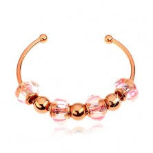 Bracelet made of 316L steel, copper colour, glass and steel beads