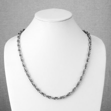 Chain made of 316L steel, dual matt and shiny oval links, tiny notches