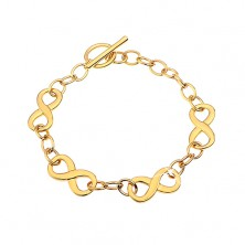Bracelet made of surgical steel in gold colour with infinity symbols