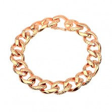 Steel bracelet - thick chain decorated with snake pattern, copper colour