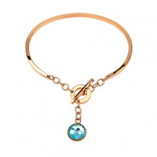 Steel bracelet in copper colour, incomplete oval with dangling blue zircon