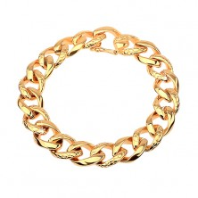 Bracelet made of 316L steel in gold colour - thick chain adorned with snake pattern