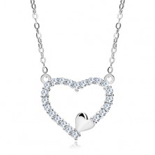 925 silver necklace, zircon heart contour and small heart