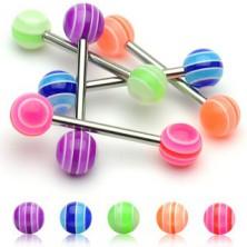 Tongue piercing - UV multicolour ball