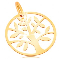 Gold pendants jewellery eshop eu 585 gold pendant shiny and flat circle with tree of life mozeypictures Image collections