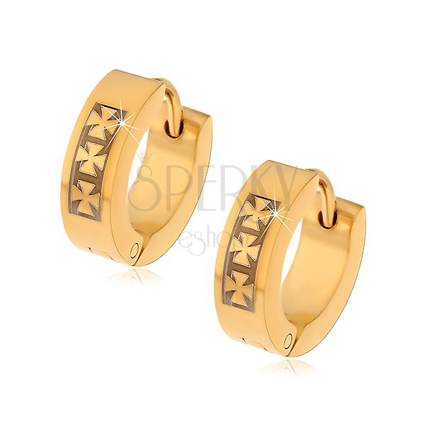 Steel earrings in gold colour with pattern of three Maltese crosses