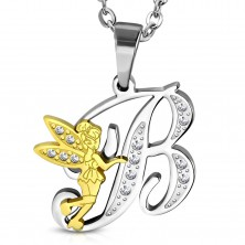 Pendant made of surgical steel, capital letter B with fairy and clear zircons