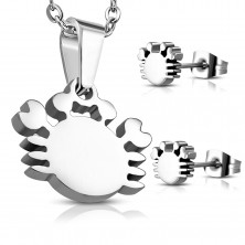 Pendant and earrings made of 316L steel in silver colour, zodiac sign CANCER