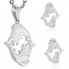 Set made of 316L steel in silver colour - pendant and earrings, zodiac sign PISCES