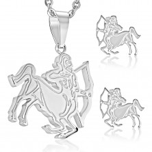 Steel set in silver colour, earrings and pendant, zodiac sign SAGITTARIUS