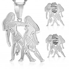 Set made of surgical steel in silver hue, pendant and earrings, zodiac sign GEMINI