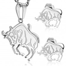 Steel set in silver colour - pendant and stud earrings, zodiac sign TAURUS