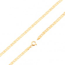 Chain made of yellow 14K gold - larger flat links, notches, obong, 450 mm