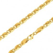 Chain made of yellow 14K gold - small links with sigmoid motif, 600 mm
