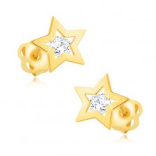 Brilliant earrings made of yellow 14K gold - star contour, clear diamond